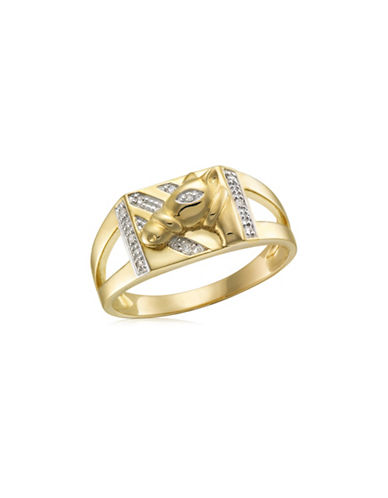 Fine Jewellery 0.05 TCW Diamonds and Yellow Gold Horsehead Ring-YELLOW GOLD-11
