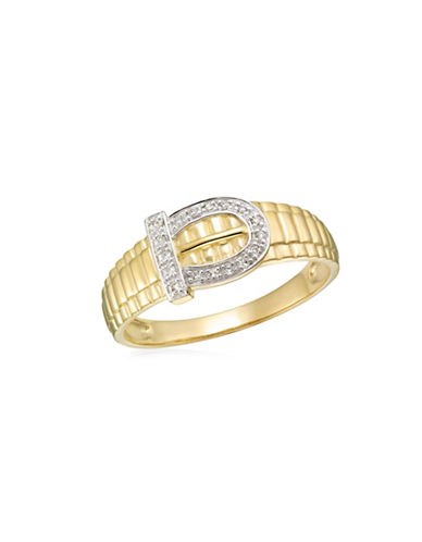 Fine Jewellery 0.085 TCW Diamonds Yellow Gold Buckle Detailed Ring-YELLOW GOLD-11