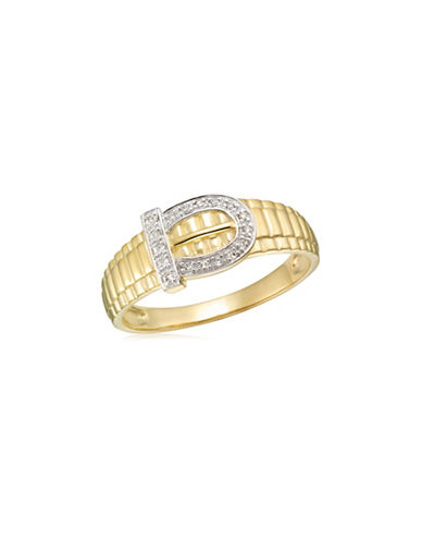 Fine Jewellery 0.085 TCW Diamonds and Yellow Gold Buckle Ring-YELLOW GOLD-12