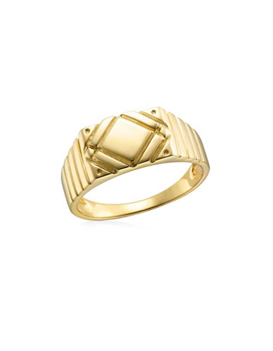 Fine Jewellery Diagonal Detailed Yellow Gold Signet Ring-YELLOW GOLD-11