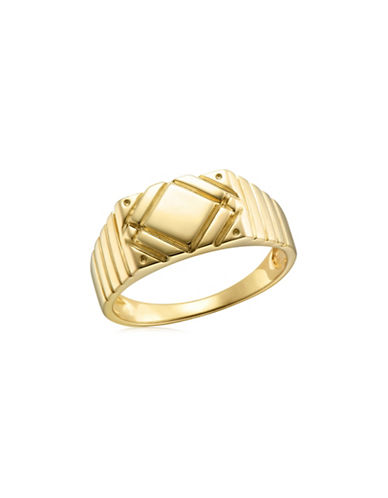 Fine Jewellery Yellow Gold Diagonal Detail Signet Ring-YELLOW GOLD-10