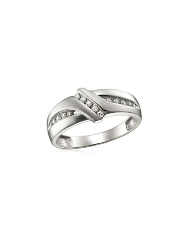 Fine Jewellery White Gold Grooved Ring with 0.25 TCW Diamonds-DIAMOND-11