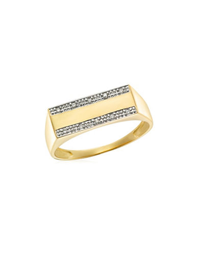 Fine Jewellery 10K Gold and .05TCW Diamond Studded Signet Ring-TWO TONE-11
