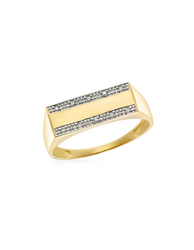 Fine Jewellery Two-Toned .05TCW Diamond Signet Ring-DIAMOND-12