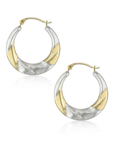 Gold Celebration 14K Two-Tone Gold Creole Hoop Earrings-TWO-TONE-One Size