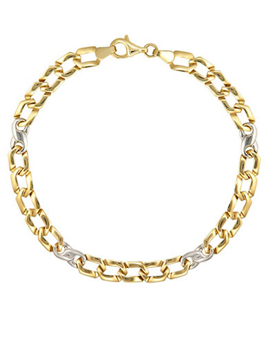 Fine Jewellery Two-Toned Linked Bracelet-YELLOW GOLD-One Size