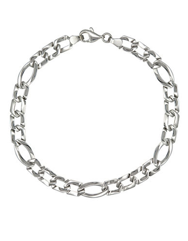 Fine Jewellery White Gold Oval and Rectangular Stamp Link Bracelet-WHITE GOLD-One Size