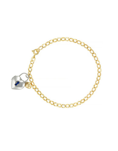 Fine Jewellery 14k Yellow Gold and Sterling Silver Heart Bracelet-YELLOW GOLD-One Size