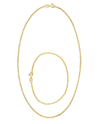 Fine Jewellery 14k Yellow Gold Singapore Chain Necklace and Bracelet Set-YELLOW GOLD-One Size