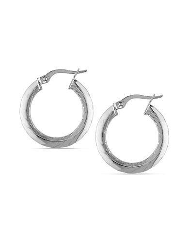 Fine Jewellery 14K White Italian Gold Swirl Hoop Earrings-WHITE GOLD-One Size