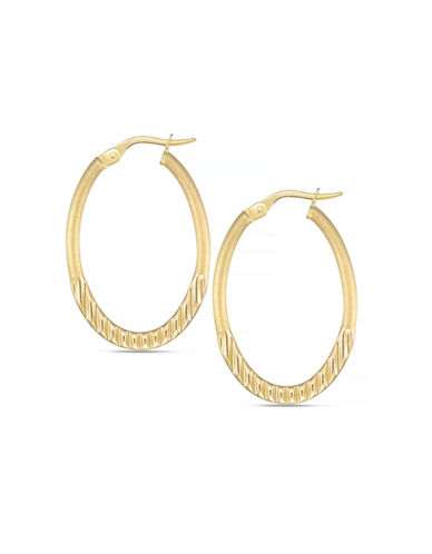 Fine Jewellery 14K Italian Yellow Gold Oval Hoop Earrings-YELLOW GOLD-One Size