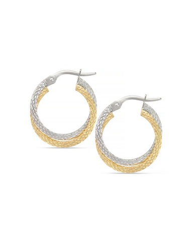 Fine Jewellery 14K Italian White and Yellow Gold Hoop Earrings-TWO TONE GOLD-One Size