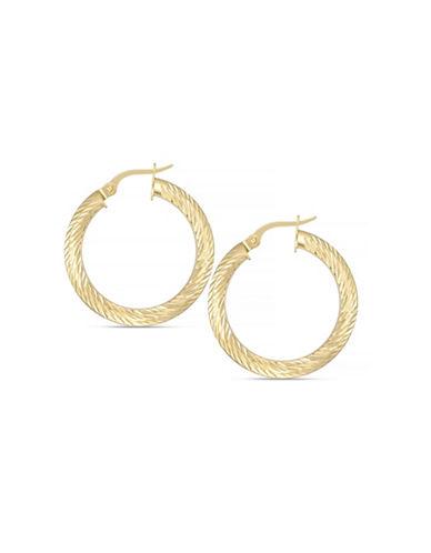 Fine Jewellery 14K Italian Yellow Gold Diamond Cut Hoop Earrings-YELLOW GOLD-One Size