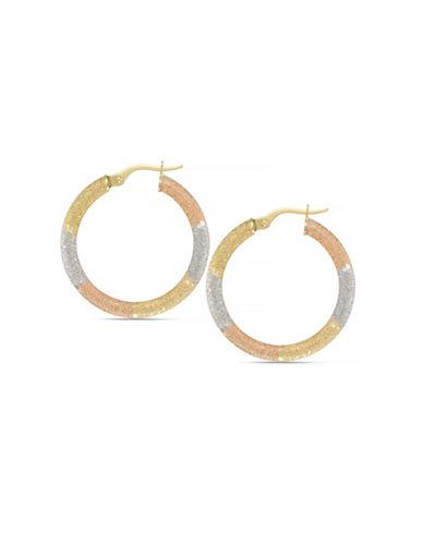 Fine Jewellery 14K Tri-Tone Italian Gold Hoop Earrings-TRI COLOUR GOLD-One Size