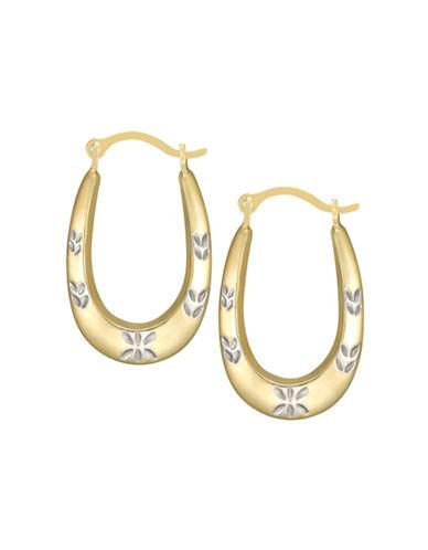 Fine Jewellery Two-Tone 14K Gold Diamond-Cut Oval Hoop Earrings-YELLOW GOLD-One Size