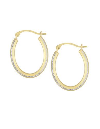Fine Jewellery 14K Gold Oval Hoop Earrings-GOLD-One Size