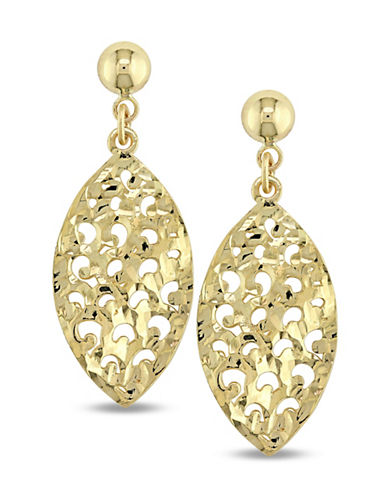 Fine Jewellery 14K Gold Cut-Out Leaf Drop Earrings-GOLD-One Size
