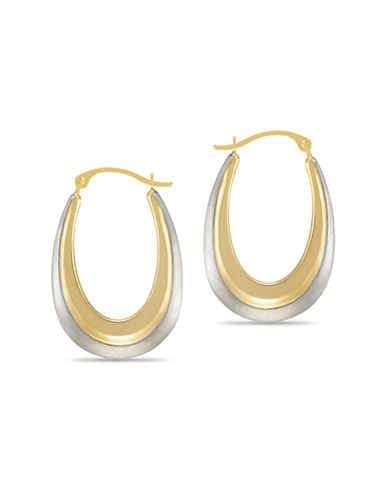 Fine Jewellery Two Tone Oval Hoops-TWO TONE GOLD-One Size
