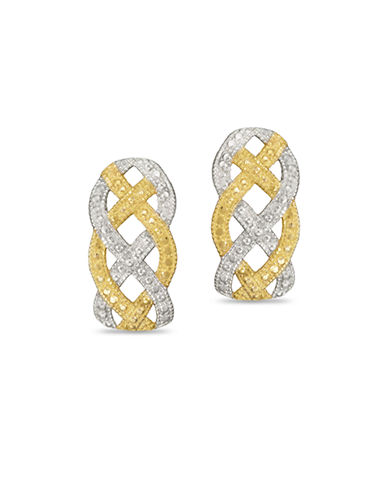 Fine Jewellery Two Tone Braided Stud Earrings-TWO TONE GOLD-One Size