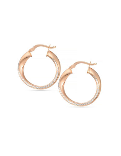 Fine Jewellery 14K Italian Rose Gold Swirl Hoop Earrings-ROSE GOLD-One Size