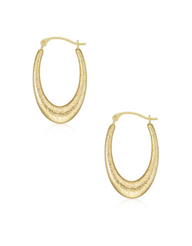 Gold Celebration 14kt Gold Textured Oval Hoop Earrings-GOLD-One Size