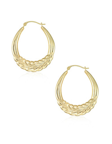 Gold Celebration 14kt Gold Feather Textured Hoop Earrings-GOLD-One Size