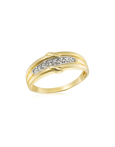 Fine Jewellery 10K Gold and .045TCW Diamond Twisted Ring-DIAMOND-10
