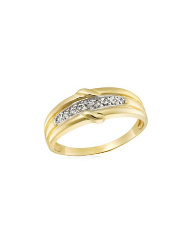Fine Jewellery 10K Gold and .045TCW Diamond Twisted Ring-TWO TONE-12