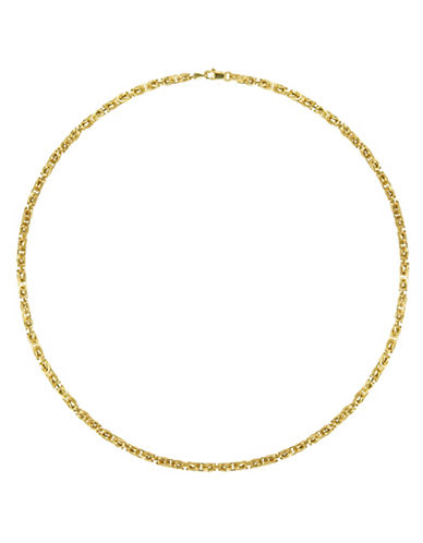 Fine Jewellery Yellow Gold Hollow Bizantine Link Chain Necklace-GOLD-One Size