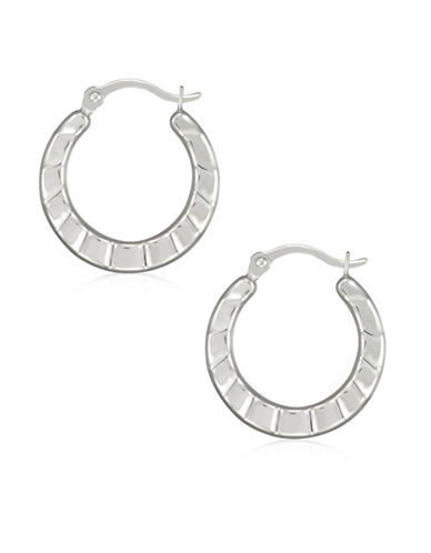 Fine Jewellery 14K White Gold Hoop Earrings-WHITE-One Size