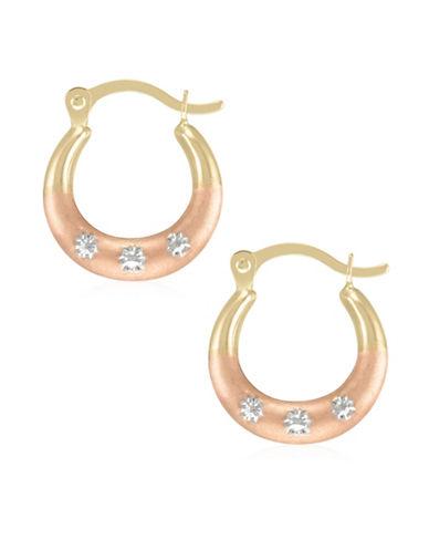 Fine Jewellery 14K Tri-Tone Gold Diamond-Cut Hoop Earrings-TRI TONE-One Size