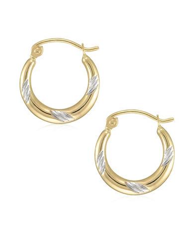 Fine Jewellery 14K Two-Tone Gold Diamond-Cut Hoop Earrings-TWO TONE-One Size