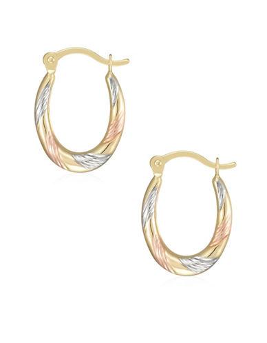 Fine Jewellery 14K Tri-Tone Gold Diamond-Cut Oval Hoop Earrings-TRI TONE-One Size