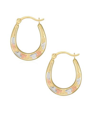 Fine Jewellery 14K Tri-Tone Gold Diamond-Cut Hoop Earrings-TRI-TONE-One Size