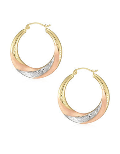 Fine Jewellery 14K Tri-Tone Gold Diamond-Cut Creole Hoop Earrings-TRI-TONE-One Size