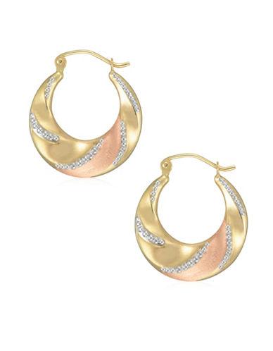 Fine Jewellery 14K Tri-Tone Gold Diamond-Cut Creole Hoop Earrings-TRI-TONE-One Size