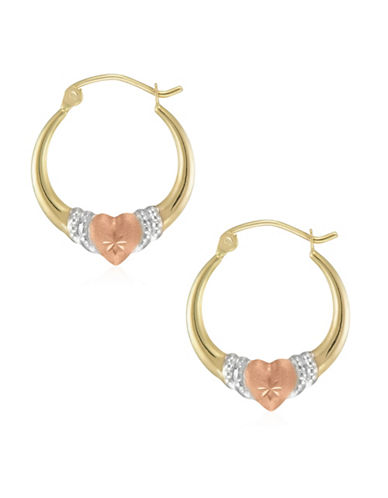 Fine Jewellery 14K Tri-Tone Gold Creole Heart Hoop Earrings-TRI-TONE-One Size