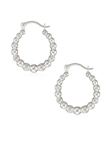 Fine Jewellery 14K White Gold Bamboo Hoop Earrings-WHITE-One Size