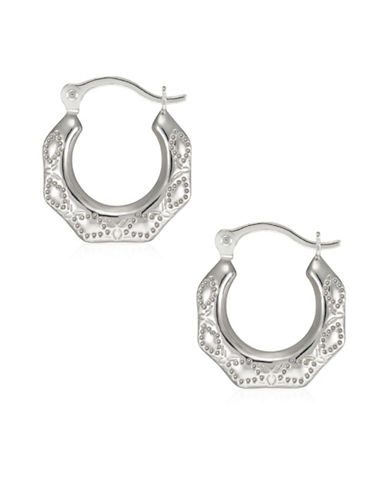 Fine Jewellery 14K White Gold Textured Creole Hoop Earrings-WHITE-One Size