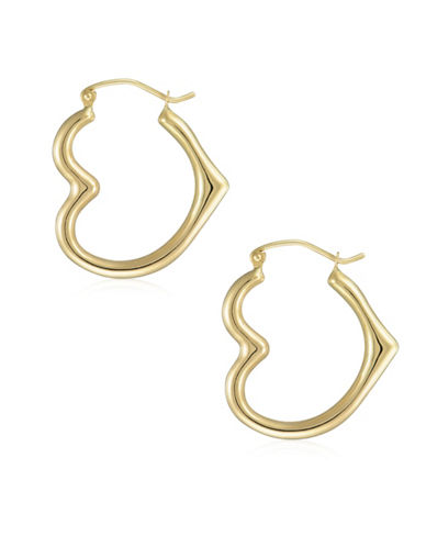 Fine Jewellery 14K Yellow Gold Heart Hoop Earrings-YELLOW-One Size
