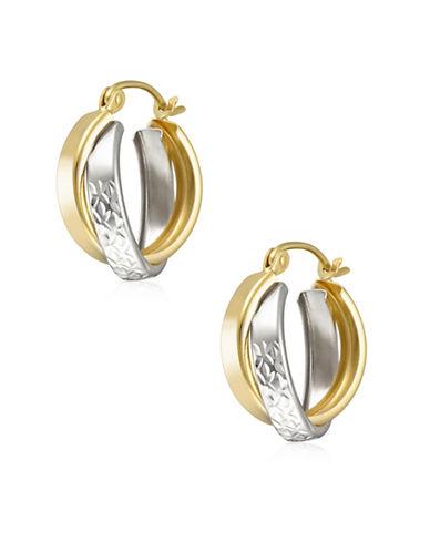 Fine Jewellery 14K Two-Tone Gold Diamond-Cut Double-Hoop Earrings-TWO TONE-One Size
