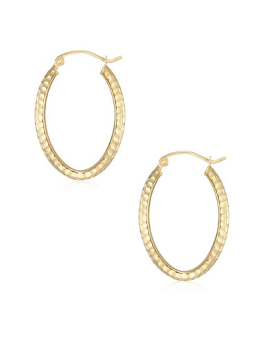Fine Jewellery 14K Yellow Gold Diamond-Cut Oval Hoop Earrings-YELLOW-One Size
