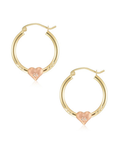 Fine Jewellery 14K Yellow Gold Textured Heart Hoop Earrings-YELLOW-One Size
