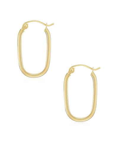 Fine Jewellery 14K Yellow Gold Oval Hoop Earrings-YELLOW-One Size