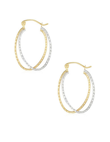 Fine Jewellery 14K Two-Tone Gold Diamond-Cut Double Oval Hoop Earrings-TWO TONE-One Size
