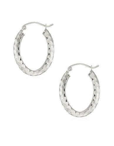 Fine Jewellery 14K White Gold Diamond-Cut Oval Hoop Earrings-WHITE-One Size