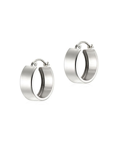 Fine Jewellery 14K White Gold Square Tube Hoop Earrings-WHITE-One Size