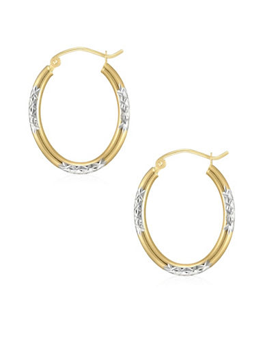 Fine Jewellery 14K Two-Tone Gold Textured Hoop Earrings-TWO TONE-One Size
