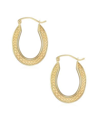 Fine Jewellery 14K Yellow Gold Basketweave Oval Hoop Earrings-YELLOW-One Size