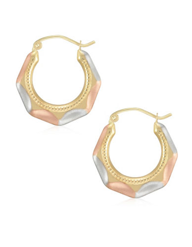 Fine Jewellery 14K Tri-Tone Gold Faceted Hoop Earrings-TRI TONE-One Size